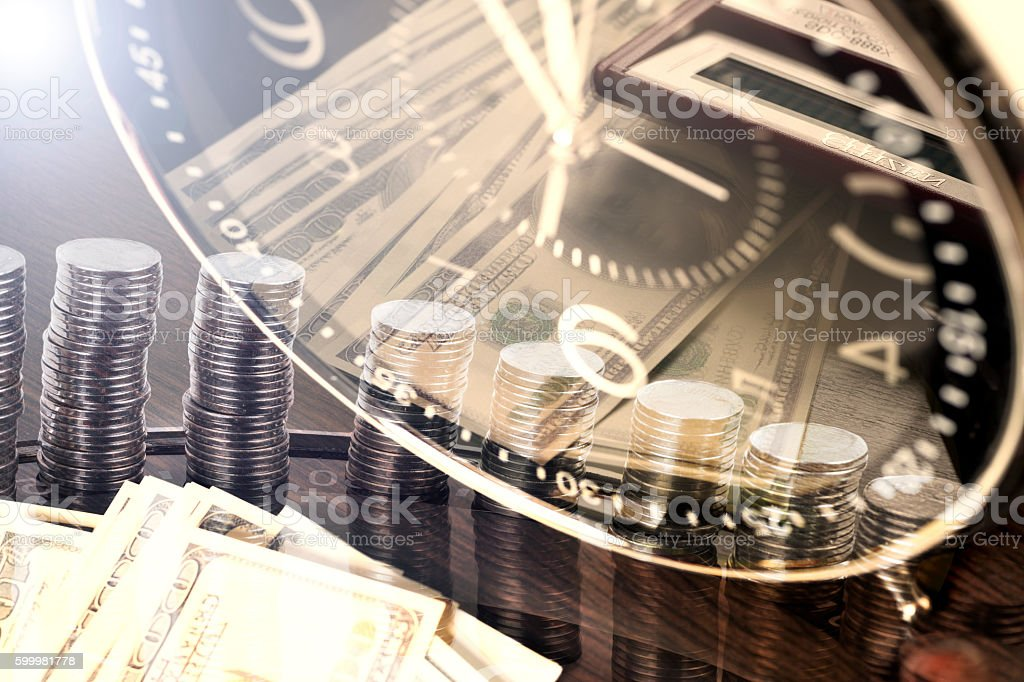 financial report. time is money and wealth. stock photo