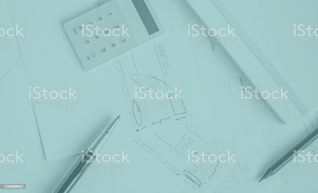 financial report with marks stock photo