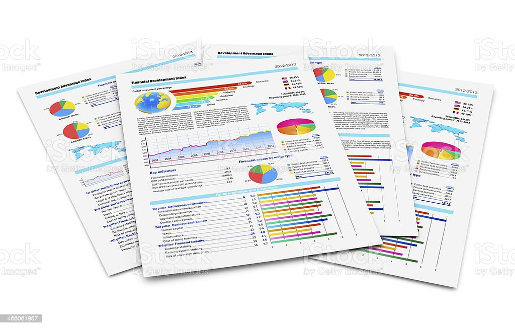 Financial reports stock photo