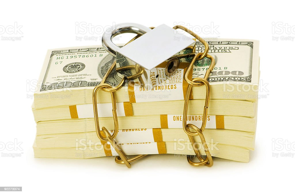 Financial security concept - padlock and dollars on white royalty-free stock photo