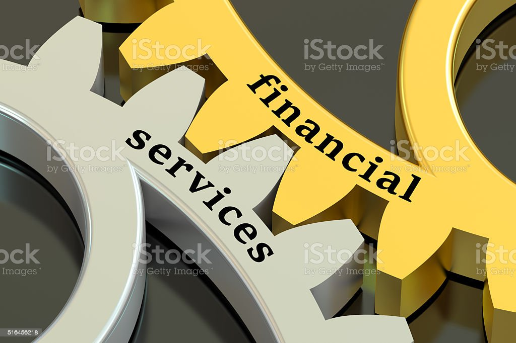 Financial Services concept on the gearwheels stock photo