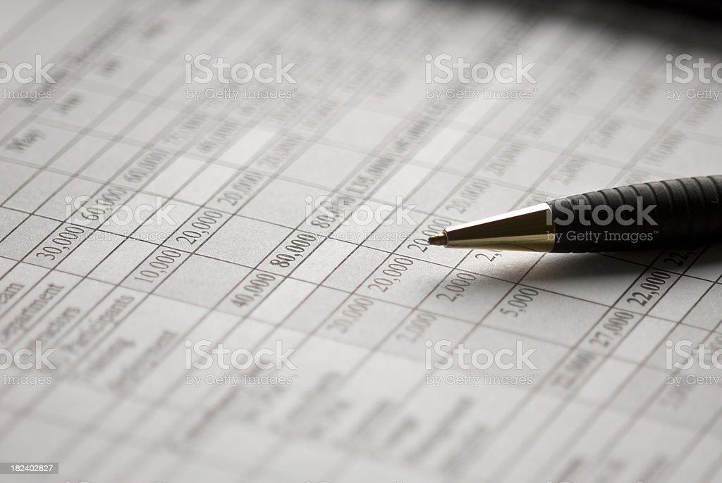 Financial Spread Sheet stock photo
