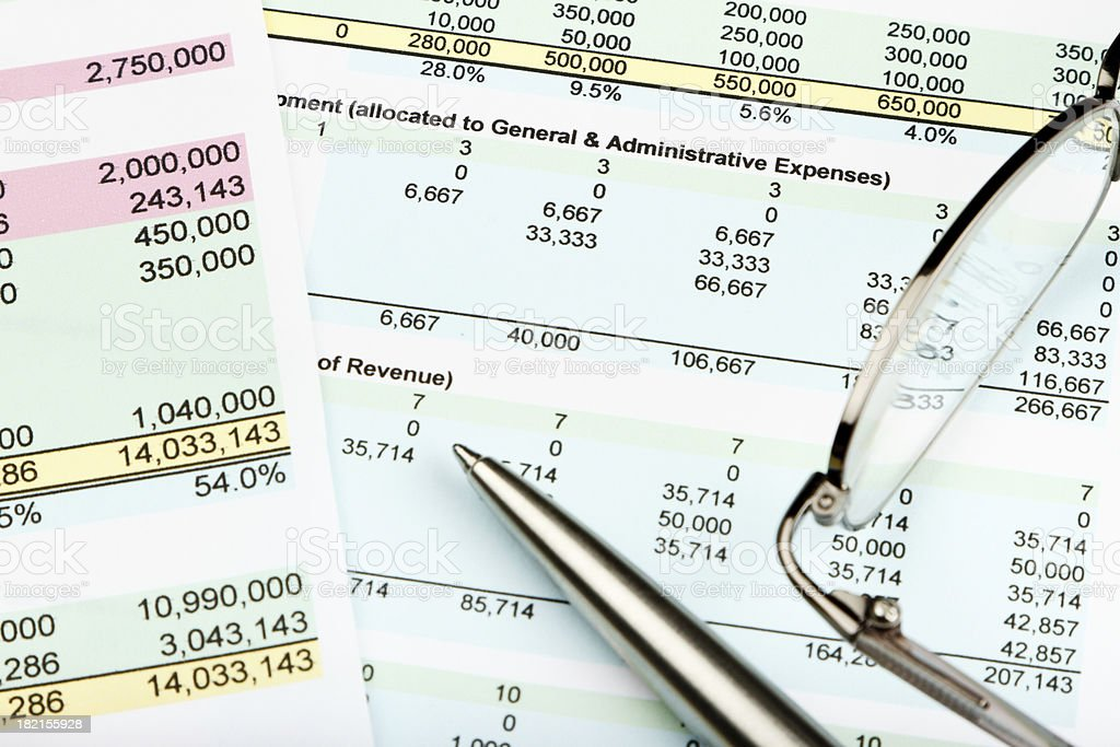 Financial Spreadsheet stock photo