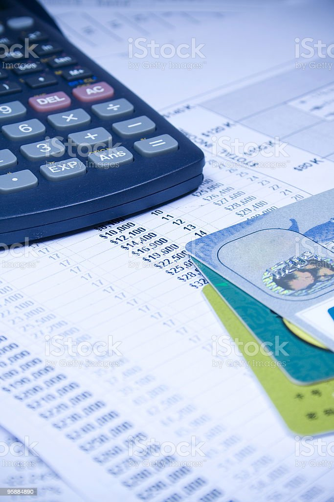 financial statement and credit card stock photo