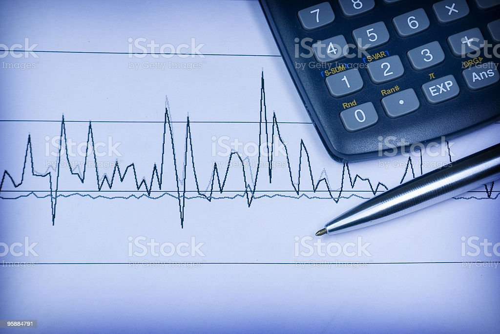 financial statement in electrocardiogram shape royalty-free stock photo