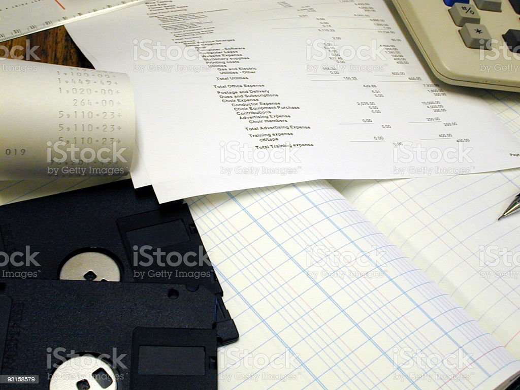 Financial Statements and accounting tools stock photo