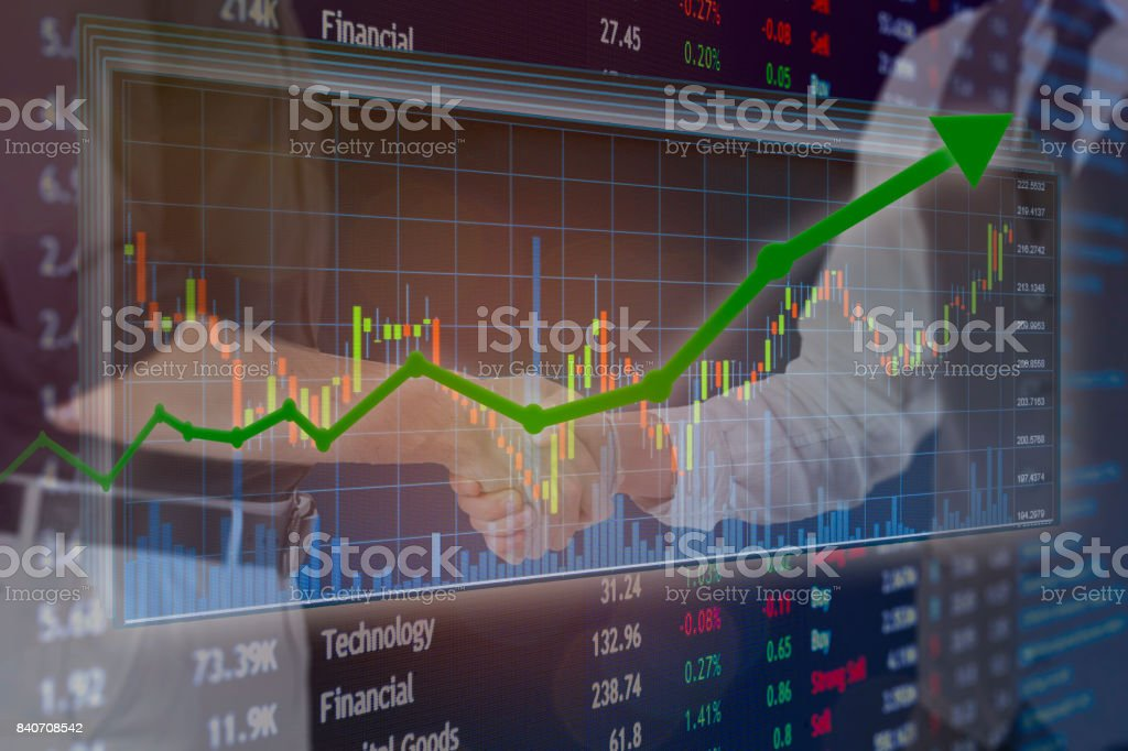 Financial stock exchange business partnership  and collaboration for investing. stock photo
