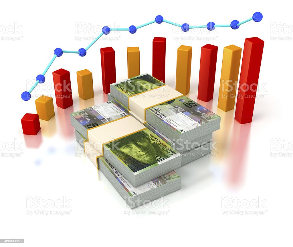 Financial succes, Swiss Franc bills and progress chart. royalty-free stock photo