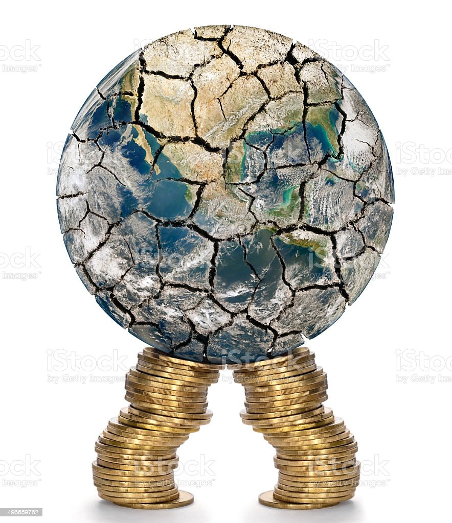 Financial support for the weakened of the world economy. stock photo