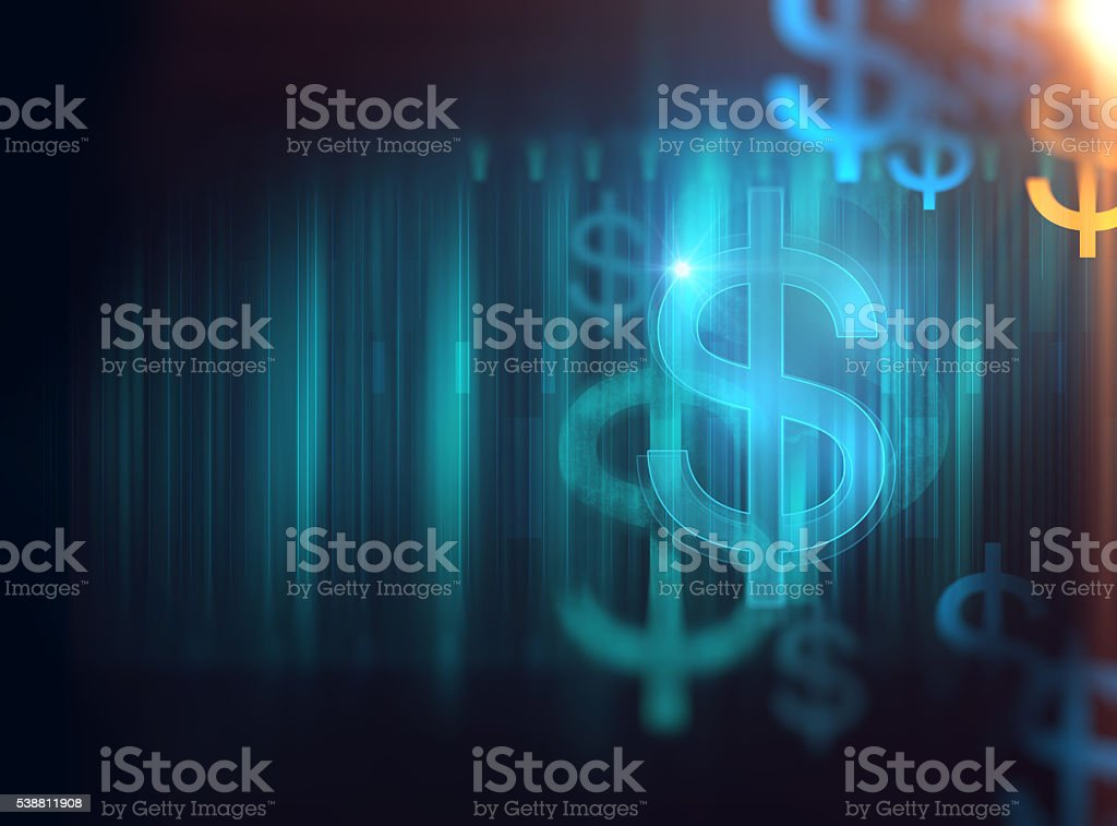financial symbol on technology abstract background stock photo