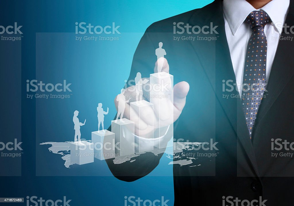 financial symbols coming from hand royalty-free stock photo