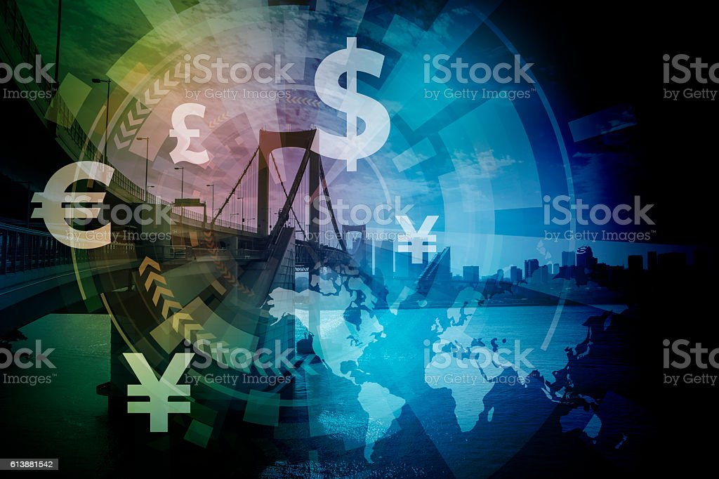 financial technology(fintech) and world economy stock photo
