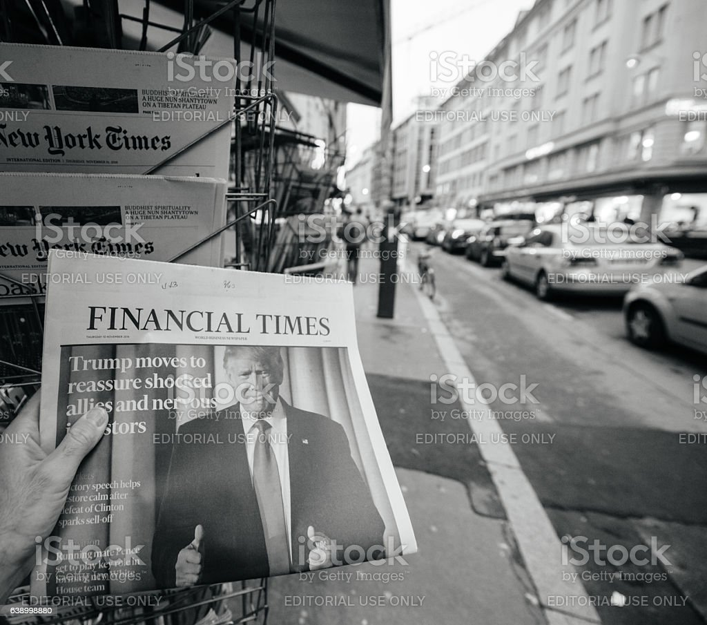 Financial Times about Donald Trump new USA president stock photo