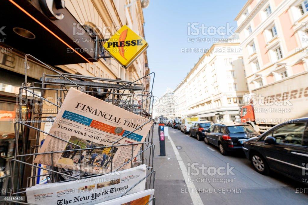 Financial Times newspaper near INternational editions press kiosk after London attacks stock photo
