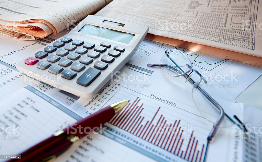 Financial tools on a desk royalty-free stock photo