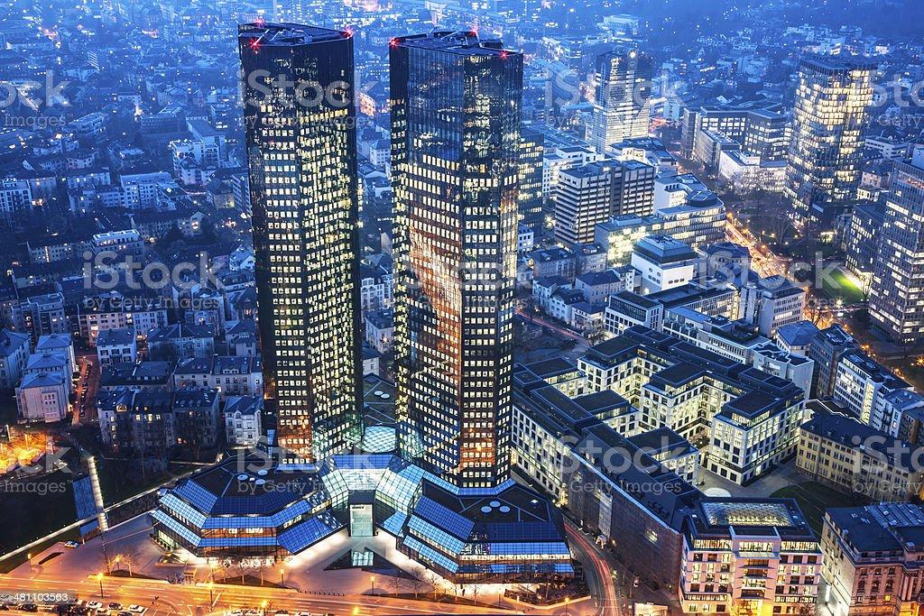Financial Towers, Deutsche Bank at Dusk, Frankfurt stock photo