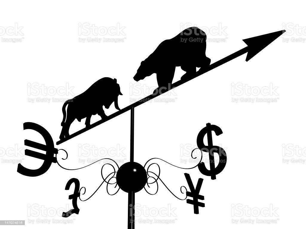 Financial weather vane stock photo