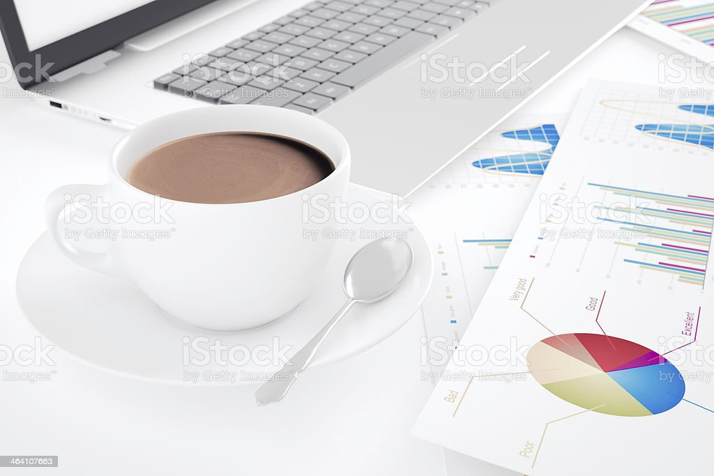 Financial working with coffee royalty-free stock photo