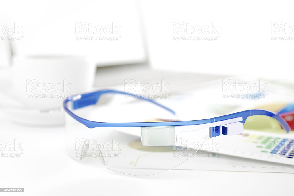 Financial working with Smart glass royalty-free stock photo