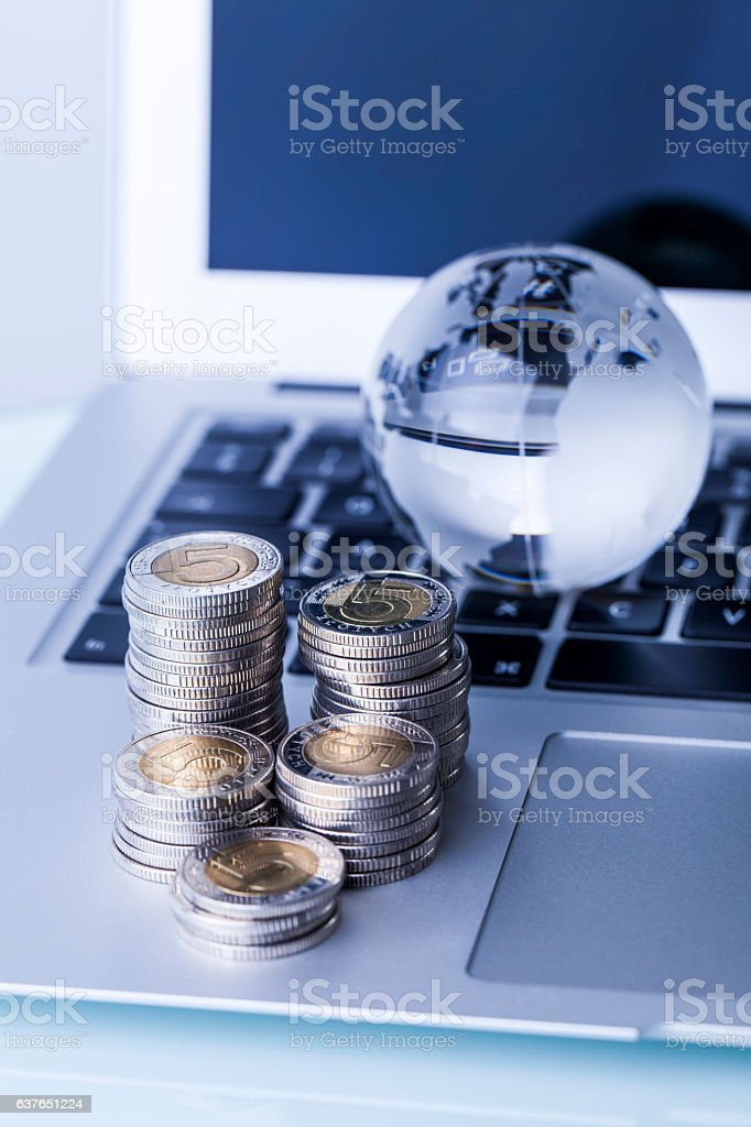 Finanes and computer stock photo