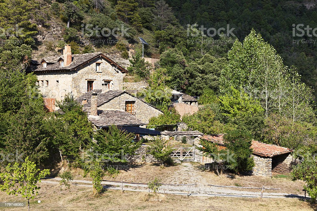 Finca in the Pyrenees stock photo