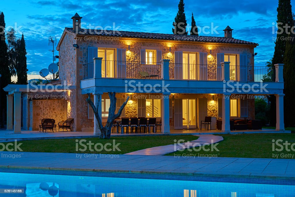 finca - spanish holiday home in evening light stock photo