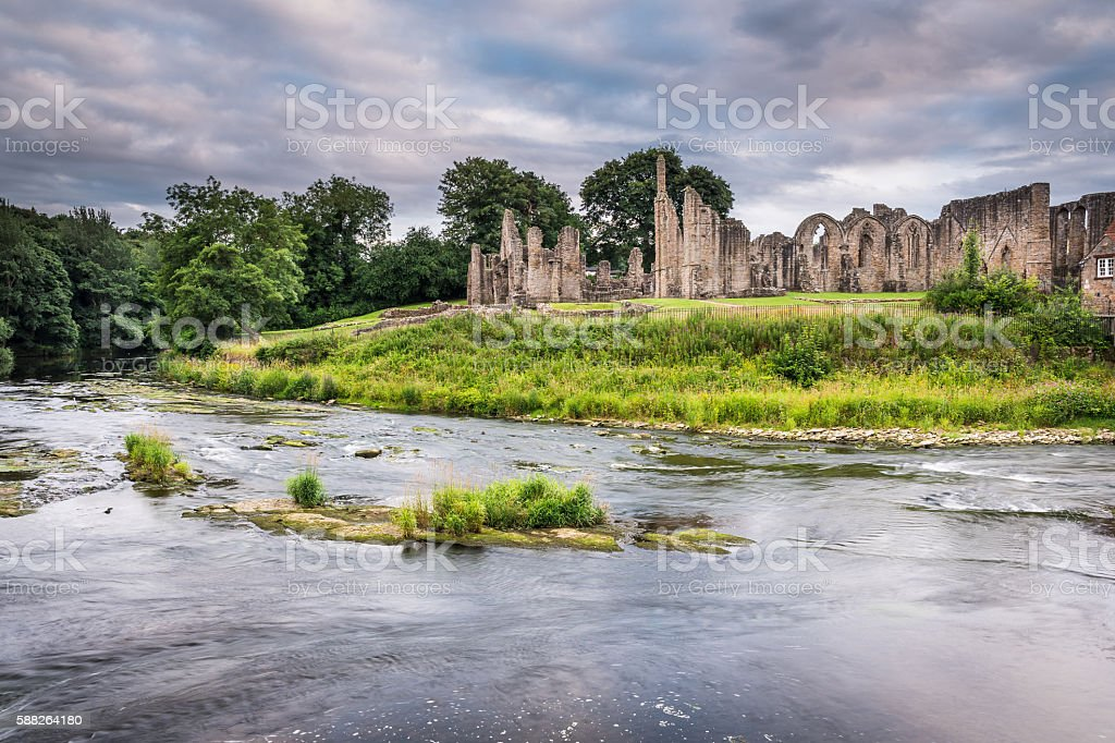 Finchale Priory and River Wear stock photo