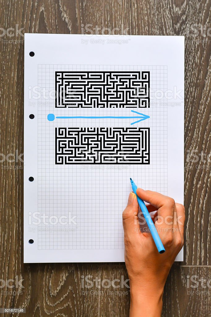 Find a better solution concept with maze and shape stock photo