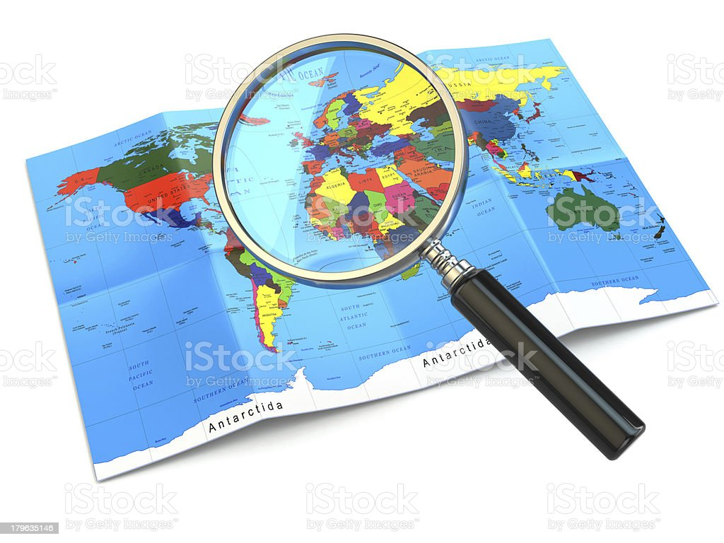 Find locations. Loupe and mapof the world. royalty-free stock photo