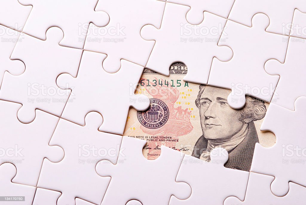 Find out wealth from the puzzle game royalty-free stock photo