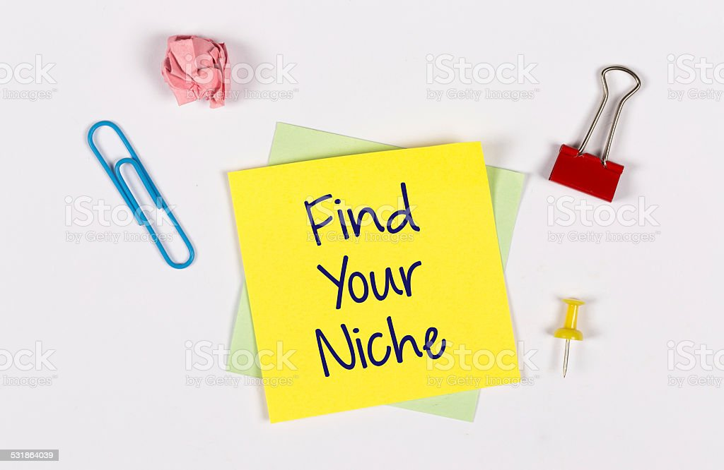 'Find Your Niche' phrase on Yellow Sticky Note stock photo