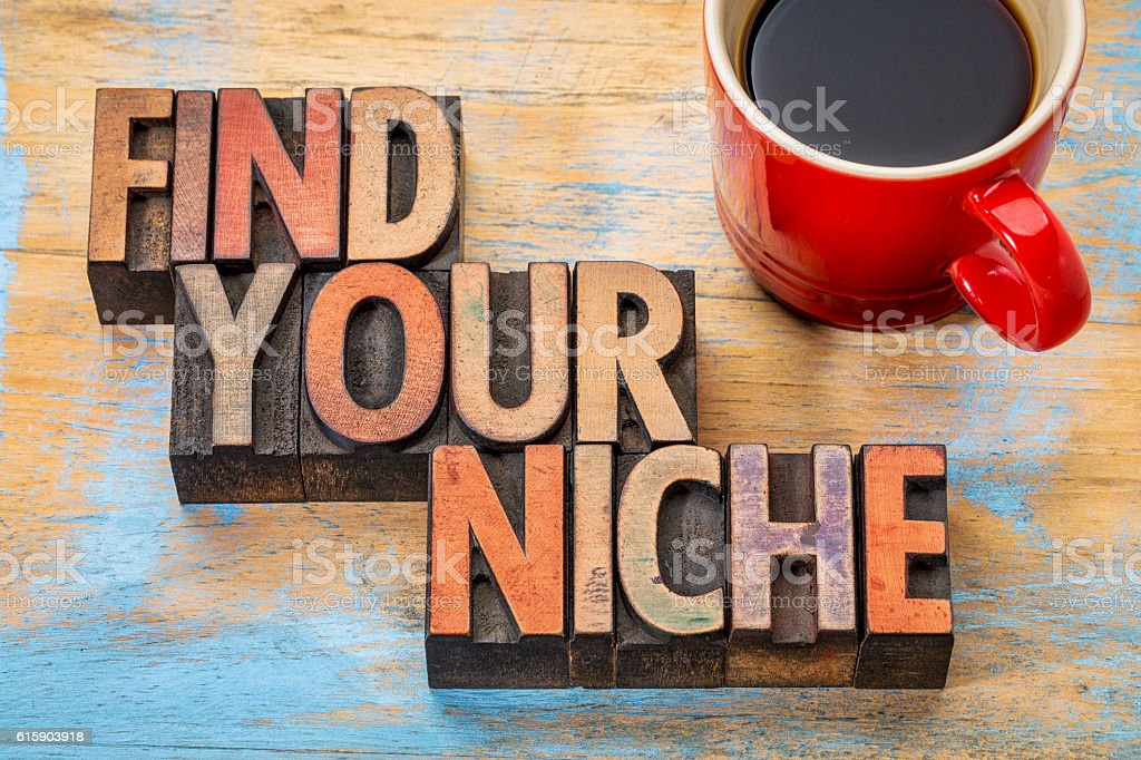 Find your niche word abstract stock photo