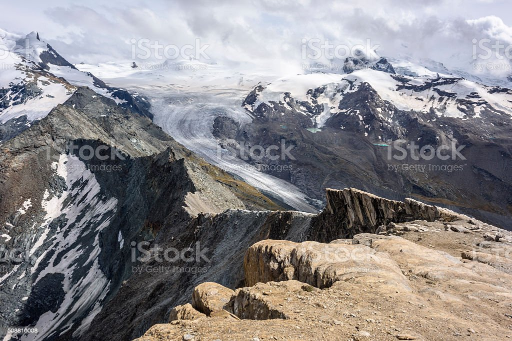 Findelgletscher, Monte Rosa, Oberrothorn stock photo
