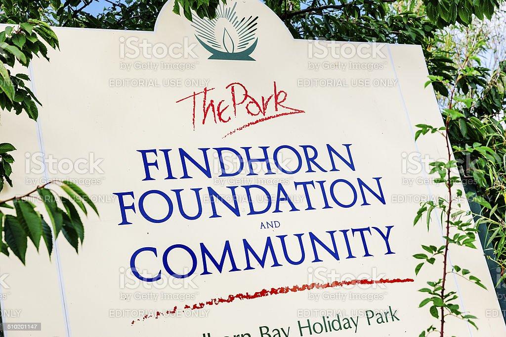Findhorn Foundation entrance sign, Moray, Northern Scotland stock photo