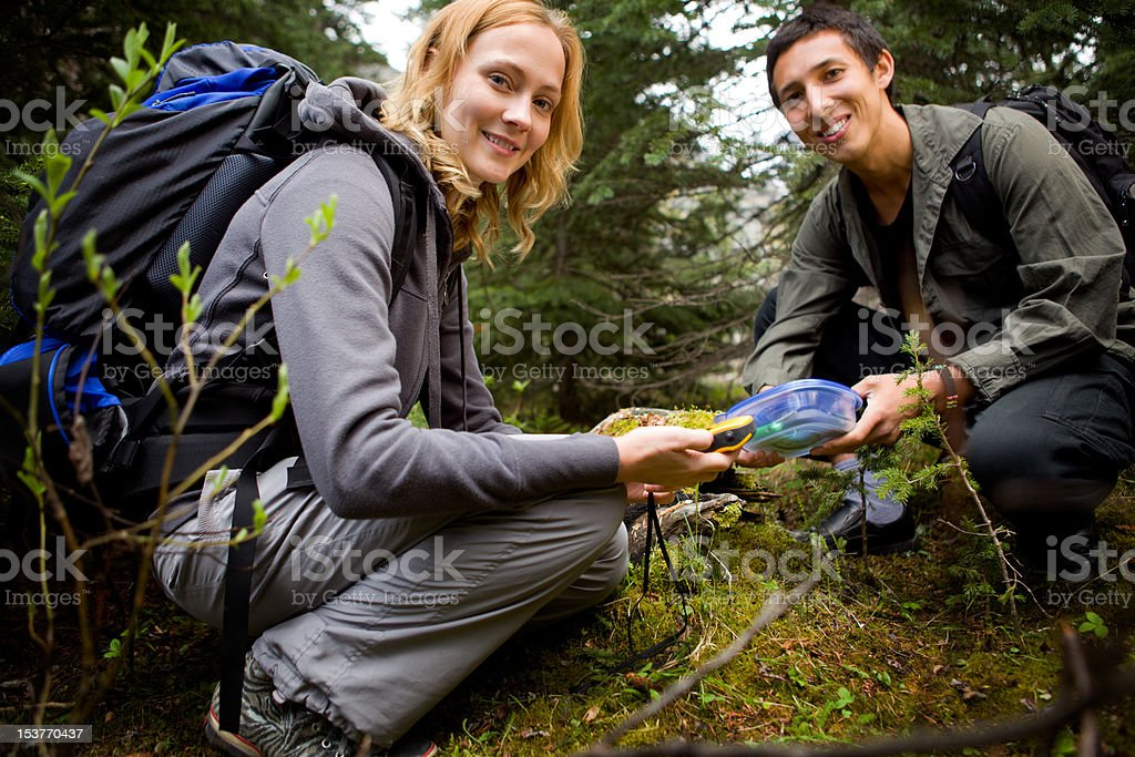 Finding a Geocache stock photo