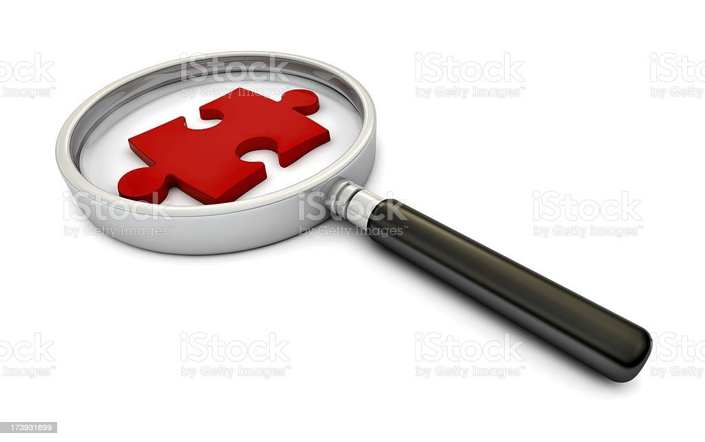 Finding a piece of the puzzle stock photo