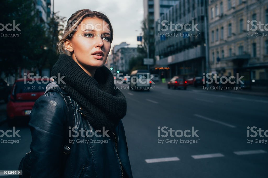 Finding a taxi stock photo