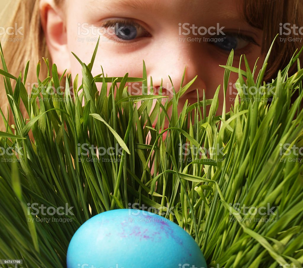 Finding an Easter Egg stock photo