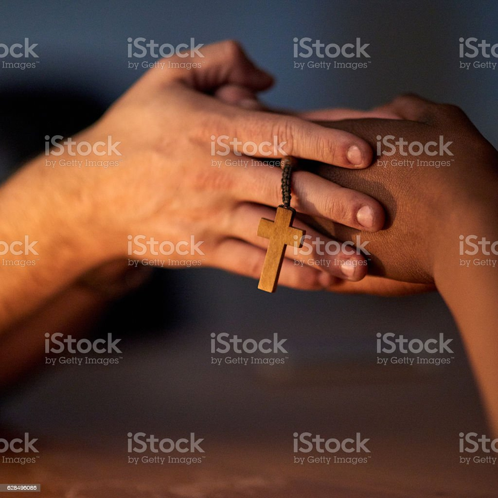 Finding comfort in religion stock photo