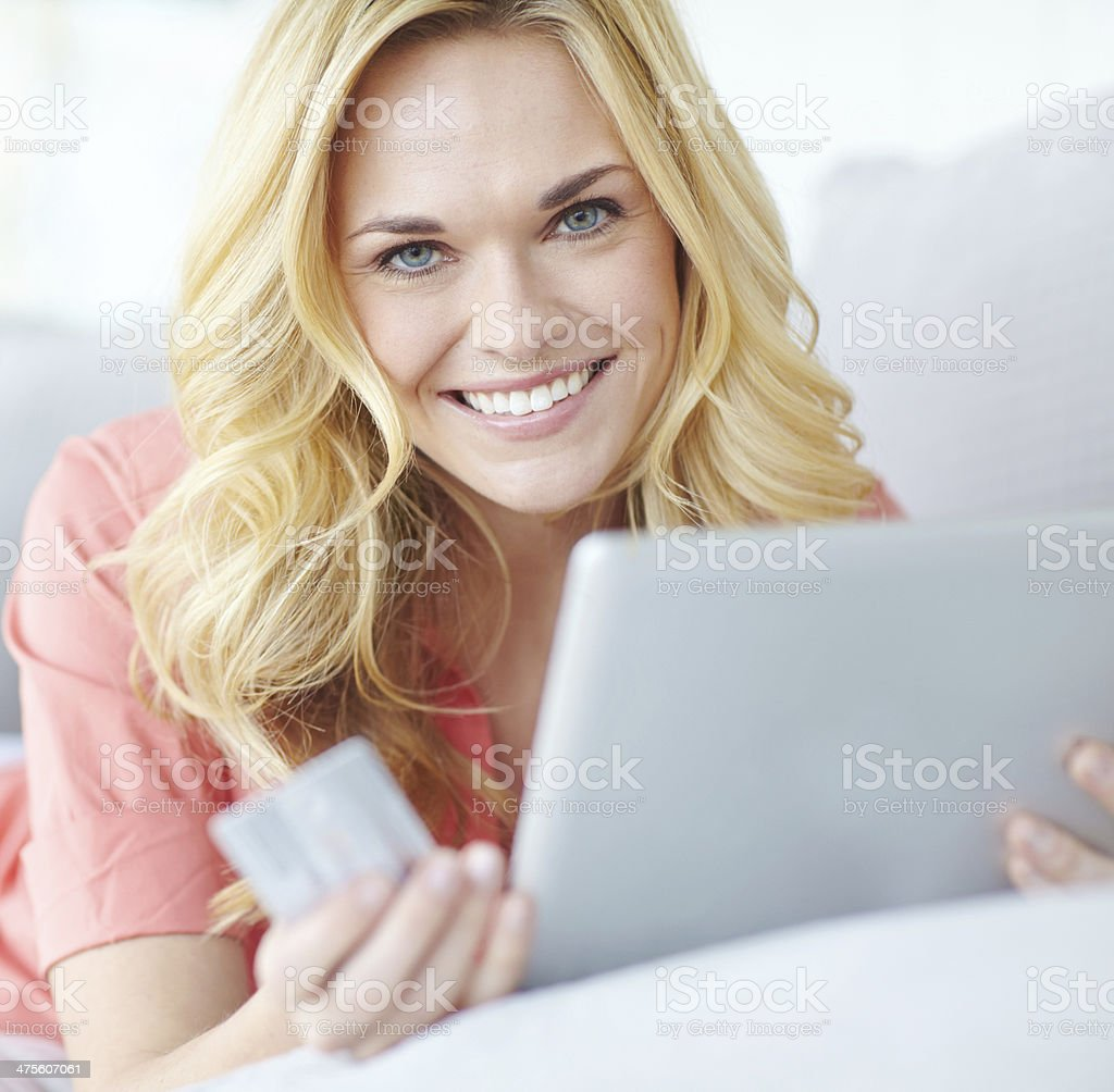 Finding everything she needs online royalty-free stock photo