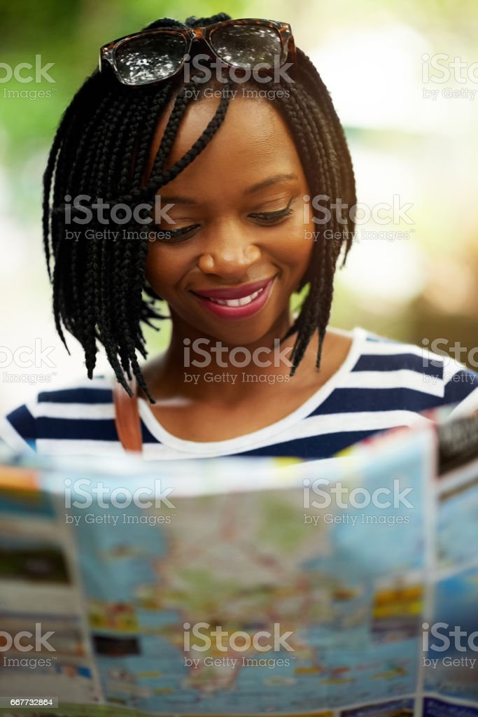 Finding her way old school stock photo