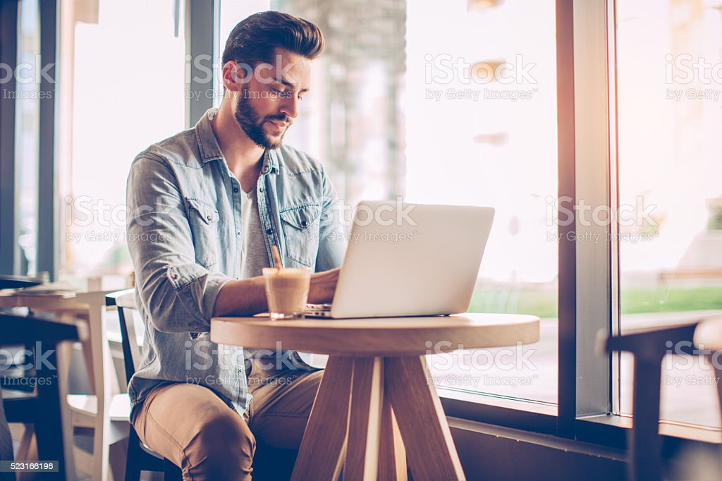 Finding inspiration where ever he is stock photo