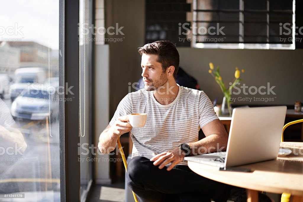 Finding inspiration where he is stock photo