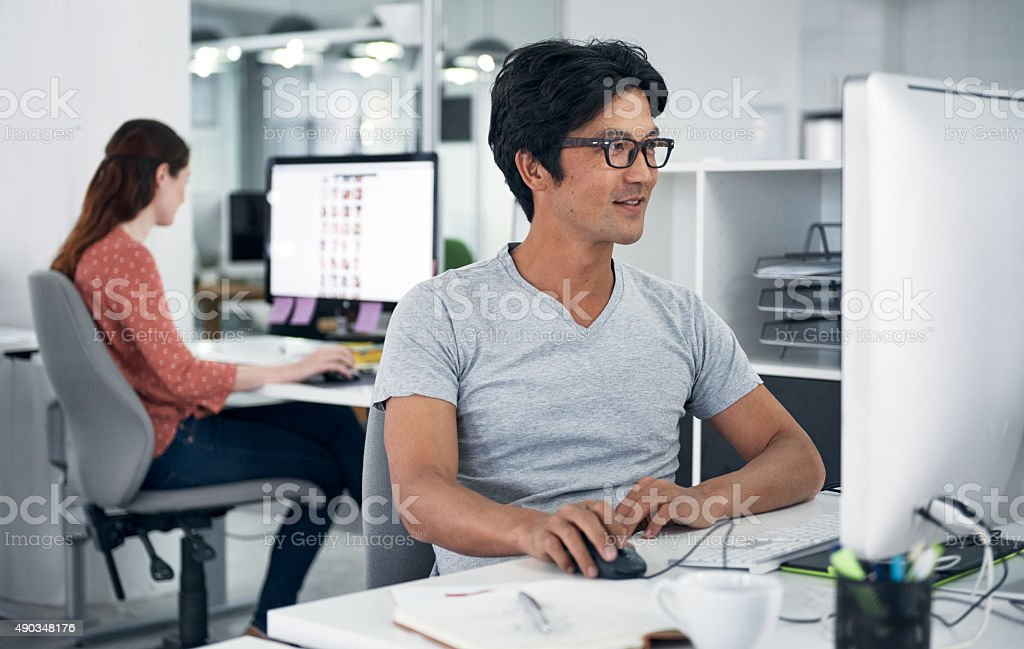 Finding online inspiration for the task stock photo