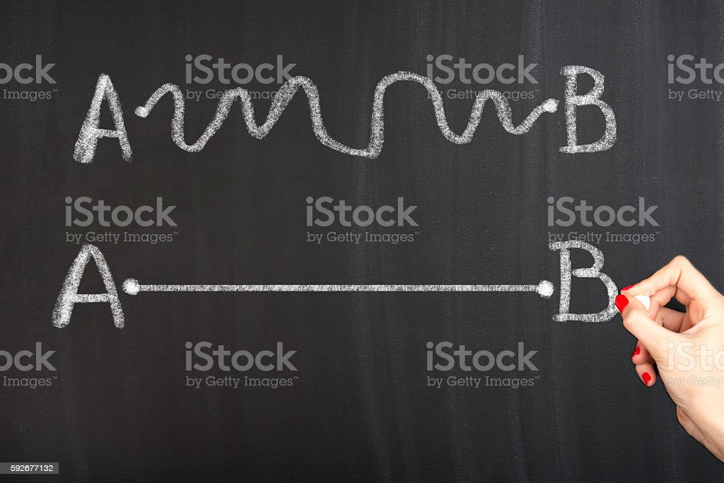Finding the best way Concept on blackboard. stock photo