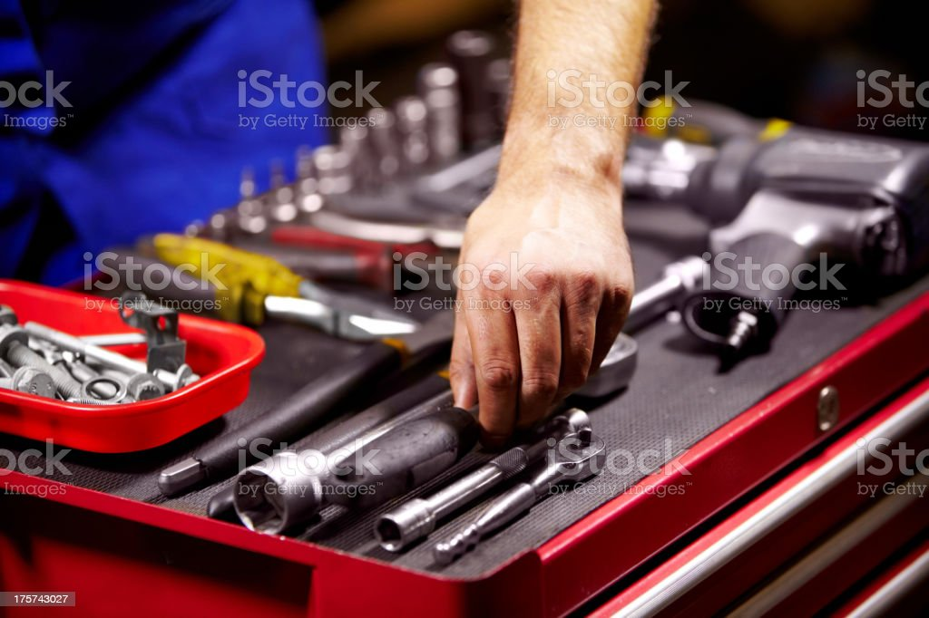 Finding the perfect tool stock photo