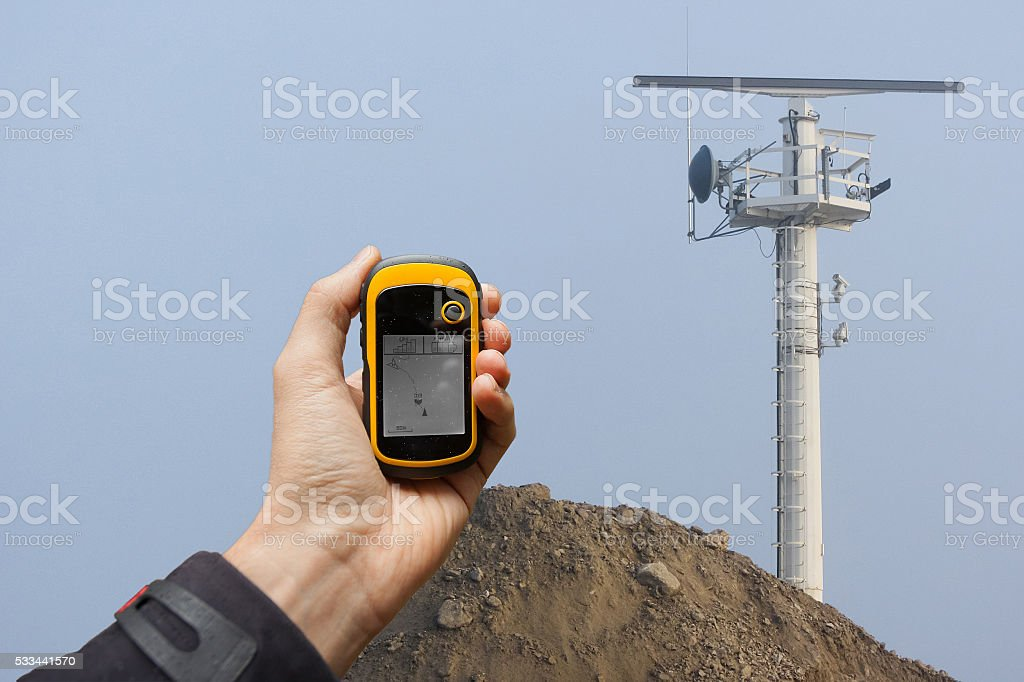 finding the right position inside a construction site via gps stock photo