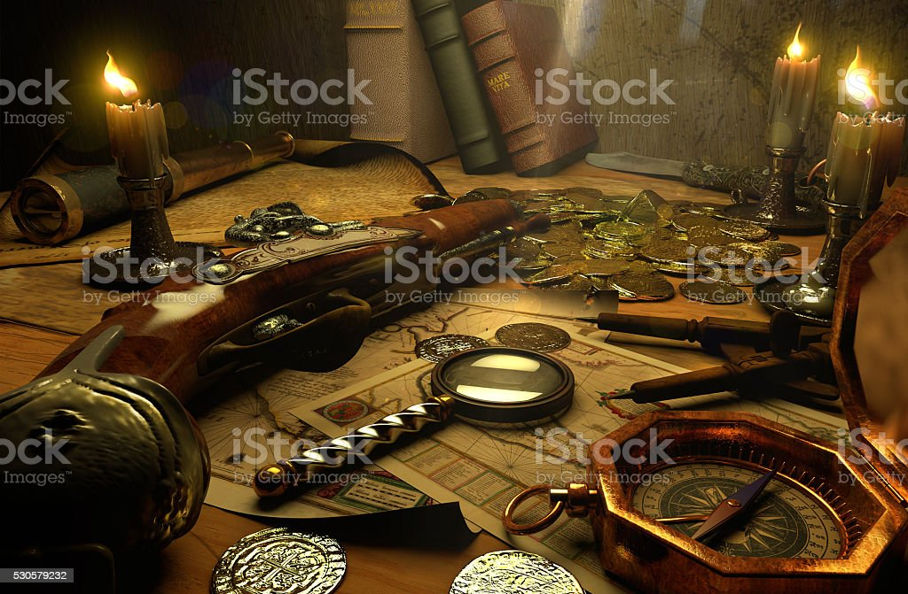 Finding treasures stock photo