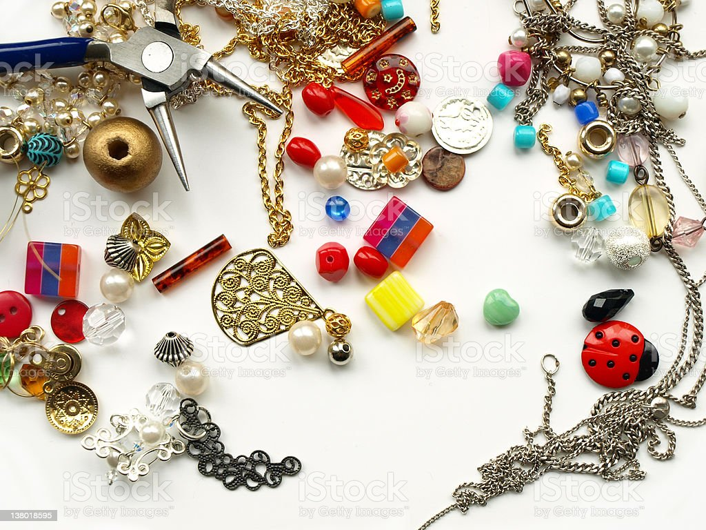 findings, beads & tool for jewelry making royalty-free stock photo