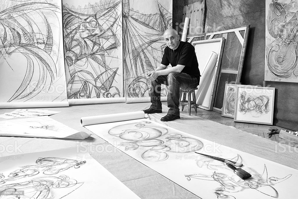 Fine art artist in studio stock photo